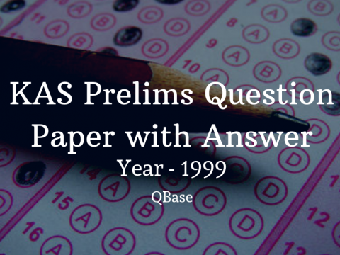 KAS Prelims Question Paper with Answer 1999