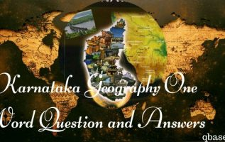 Karnataka Geography One Word Question and Answers